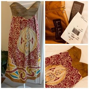 NICOLE MILLER Silk Strapless Dress